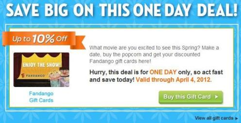 Save on Fandango gift cards for today's Daily Deal