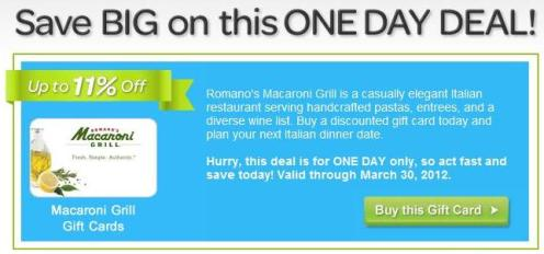 Save over 10% with a Macaroni Grill gift cards!