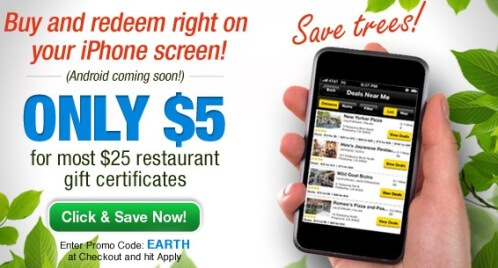 Restaurant coupons offer daily deals