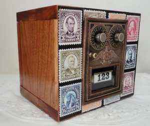 Cherry Wood Bank with Vintage Brass Post Office Door 