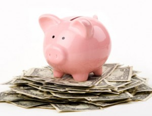 piggy bank on money